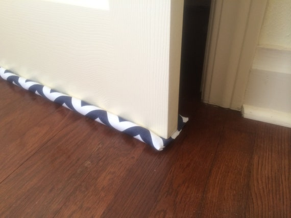 Door draft stopper double sided navy blue by pinsandpillows for Door wind stopper