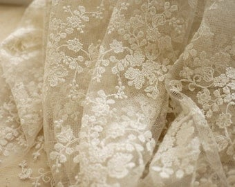 Ivory Lace Fabric Floral Embroidered Tulle Wedding Dress Bridal Veil Curtain