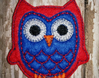 Set of 4 Red and Blue Owl Felties Patriotic 4th of July Memorial Veterans Day Patriot  Feltie Felt Embellishment Bow! Planner Clip
