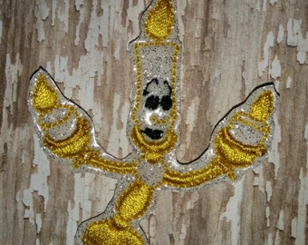 Set of 4 Beauty and The Beast Lumiere Candlestick Feltie Felt Embellishment Bow! Birthday Party Planner Clip Felts Belle Oversize