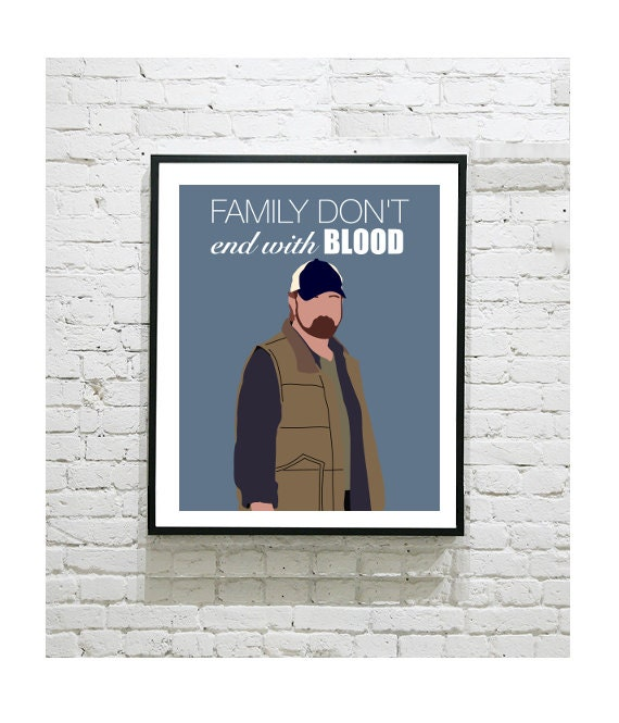 Supernatural Quotes Family Don T End With Blood: Supernatural Art Print Bobby Singer Sam Winchester By