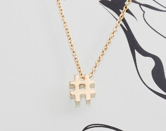 Gold Plated, Simple Hash Tag Charm, Necklace