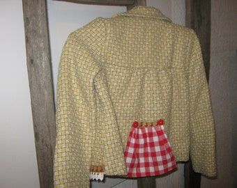 Upcycling kids jacket, Gr. 110, girl model with woven silver threads