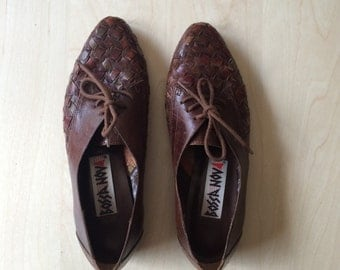 vintage womens brown leather woven detail oxford flats brogues size 7