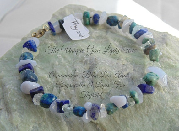 thyroid gemstone blend healing memory wire by theuniquegemlady