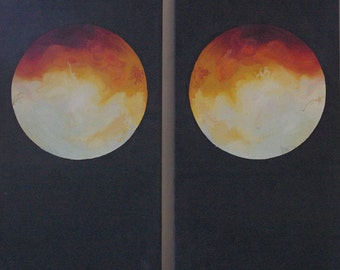 "25% OFF ~ Mars Diptych ~ Original Oil Paintings ~ Modern Art, Planets; 77 x 73 x 1.6 cm ~ 30 1/4"" x 28 3/4"" x 3/4"" dimensions each"