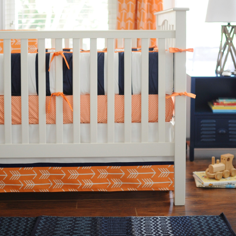 Navy blue orange baby boy bedding orange by newarrivalsinc - Navy blue and orange bedding ...