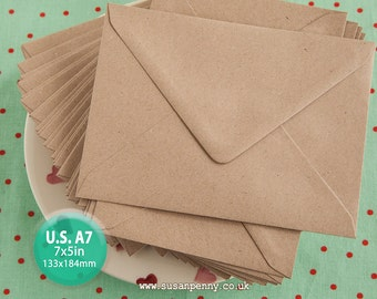 50 A7 Kraft Envelope, Greeting Card Envelope, 7x5in, Triangular Flap, Gummed, Flecked Brown, 110gsm, 100% recycled PSS078