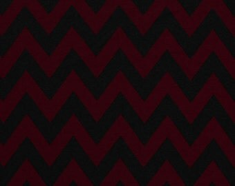 End of Bolt 1&1/3 yards - Burgundy and Black Chevron Ponte De Roma Knit Fabric, Rayon Polyester Ponte Knit Sold by the Yard  5120