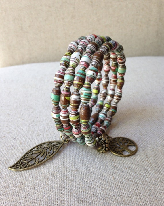 handmade bracelet paper bead bracelet memory wire bracelet