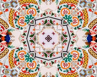 Ceramic transfer Gaudi, size 10 x 10cm (3.94 x 3.94 inch), firing temperature 1400-1562 ºF, ceramic decal tile, Gaudi ceramic decal, Gaudi