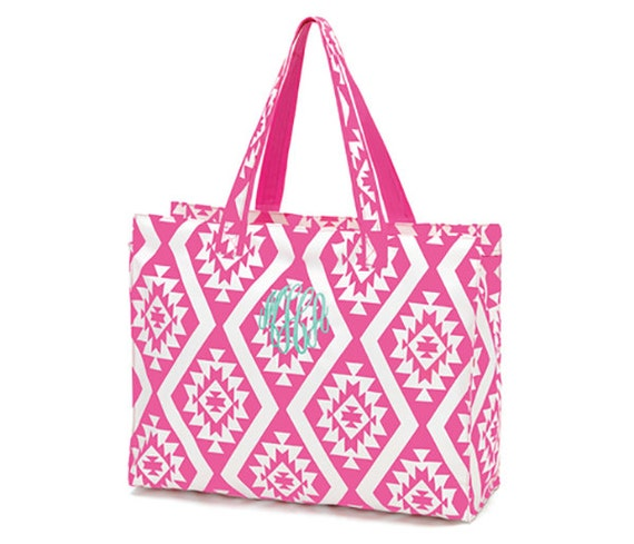 Pink aztec design beach bag tote personalized by lagniappe985 for Designer beach bags and totes