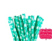 25 Teal FROZEN SNOWFLAKE Winter Wonderland Paper Drinking Straws / Birthday Party Decorations Ideas and Supplies / Wedding / Baby Shower
