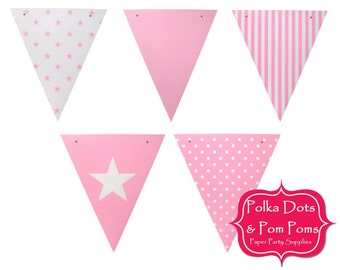 50 Pastel BABY PINK Card Stock BUNTING Flags / Pennant / Garland / Birthday Party Decoration Ideas & Supplies / Girl / Baby Shower /