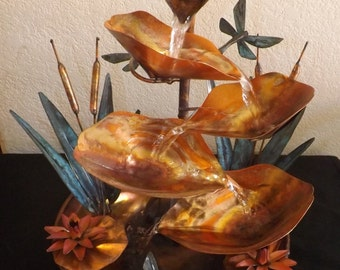 Medium Size Cattails and Dragonflies Copper Table Fountain