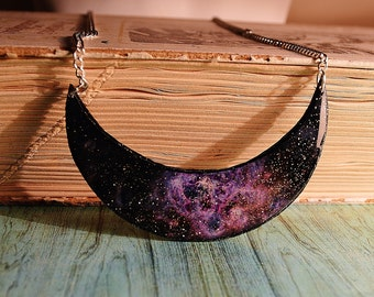 galaxy necklace , purple statement necklace  , chunky  necklace , statement necklace , purple necklace , nebula necklace , cosmic necklace