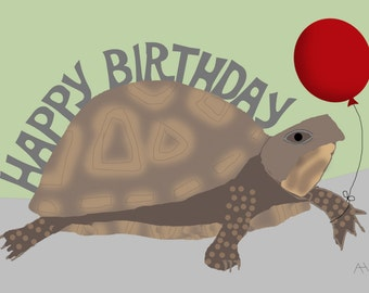 Turtle Holding a Balloon, Happy Birthday Card