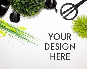 Styled Desktop Stock Photography Green / Stock Photo / Office Background / Styled Photography / Lime / Website Background