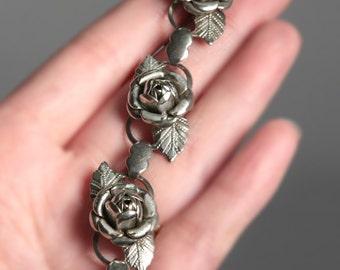 Vintage Silver Tone Rose Bracelet 7.68'' LONG