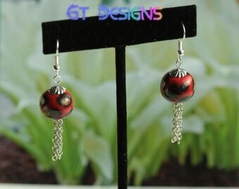 GT Designs Handmade Porcelain Bead Earring Red Black