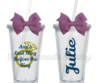 Last Fling Before the Ring Bachelorette Party acrylic cups! Personalized for each girl! bachelorette cups