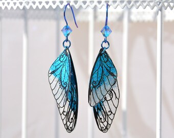 "Fairy wings - fairy wings earrings ""Fairy"" Turquoise - glitter niobium ear hook"