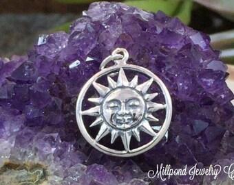 Smiling Sun Charm, Sun Charm, Sunshine Charm, Celestial Charm, Sun Pendant, Sterling Silver, Necklace Charm, Necklace Pendant, PS01228