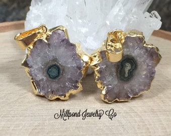 Stalactite Pendant, Druzy Pendant, Amethyst Pendant, 24 Karat Gold, Only One Piece of Each Available, PG2606
