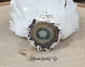 Stalactite Pendant, Druzy Pendant, Amethyst Pendant, Silver Plated, Only One of Each Piece Available