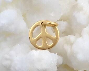 Gold Peace Sign, Peace Sign Charm, Peace Sign Pendant, Gold Charm, Gold Pendant, Gold Filled Charm, Gold Filled Peace Sign Charm