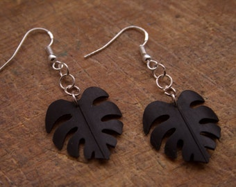 Jungle leaf bicycle inner tube earrings