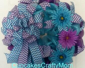 Purple and Blue Spring Deco Mesh Wreath, Purple and Blue Spring Wreath, Purple and Blue Summer Mesh Wreath, Purple and Blue Spring Wreath