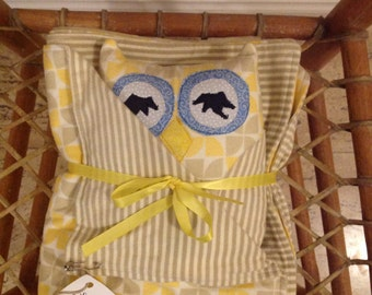Baby Owl, Receiving Blanket, and Two Burp Cloths - One of a Kind, Super Cute and Ready to Ship Now