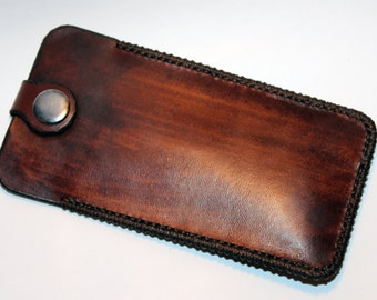 Leather key holder, handmade brown leather case with silver key ring, great gift for men, great gift for women.