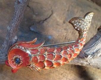rare vintage les bernard inc. enamel fish sea serpent with blueish rhinestone eye brooch
