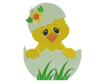 Hatching Chick with Flower Filled Machine Embroidery Digitized  Design Pattern - Instant Download - 4x4, 5x7, 6x10