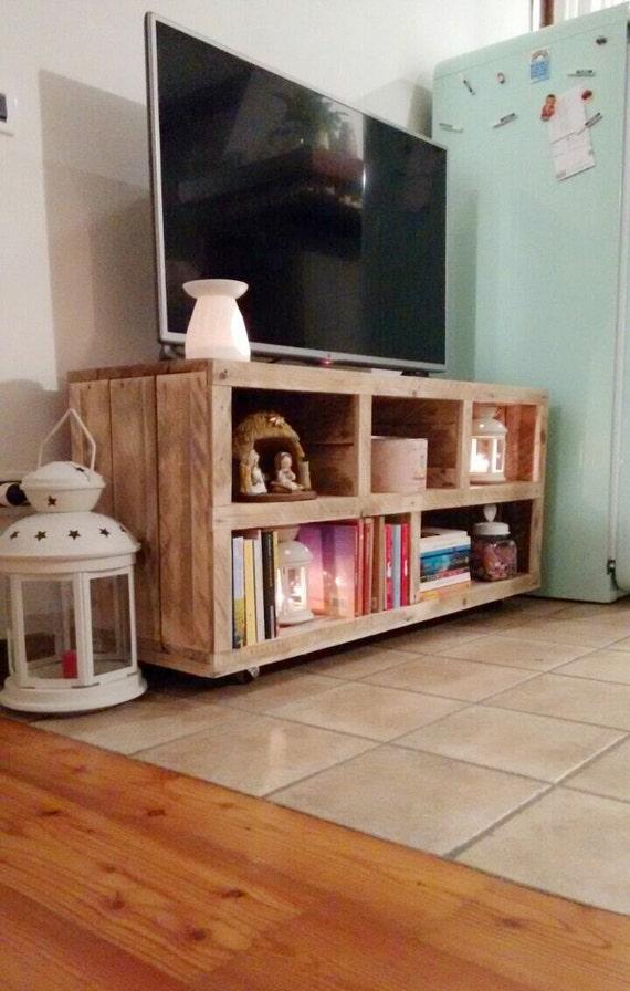 Mobile tv con legno di bancale fatto a mano tv stand - Mobile tv fai da te ...
