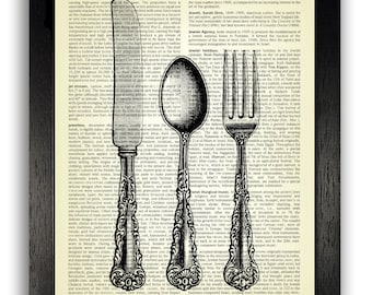 Vintage Cutlery Art Print Home Kitchen Decor Knife Fork Wall Decal Unique