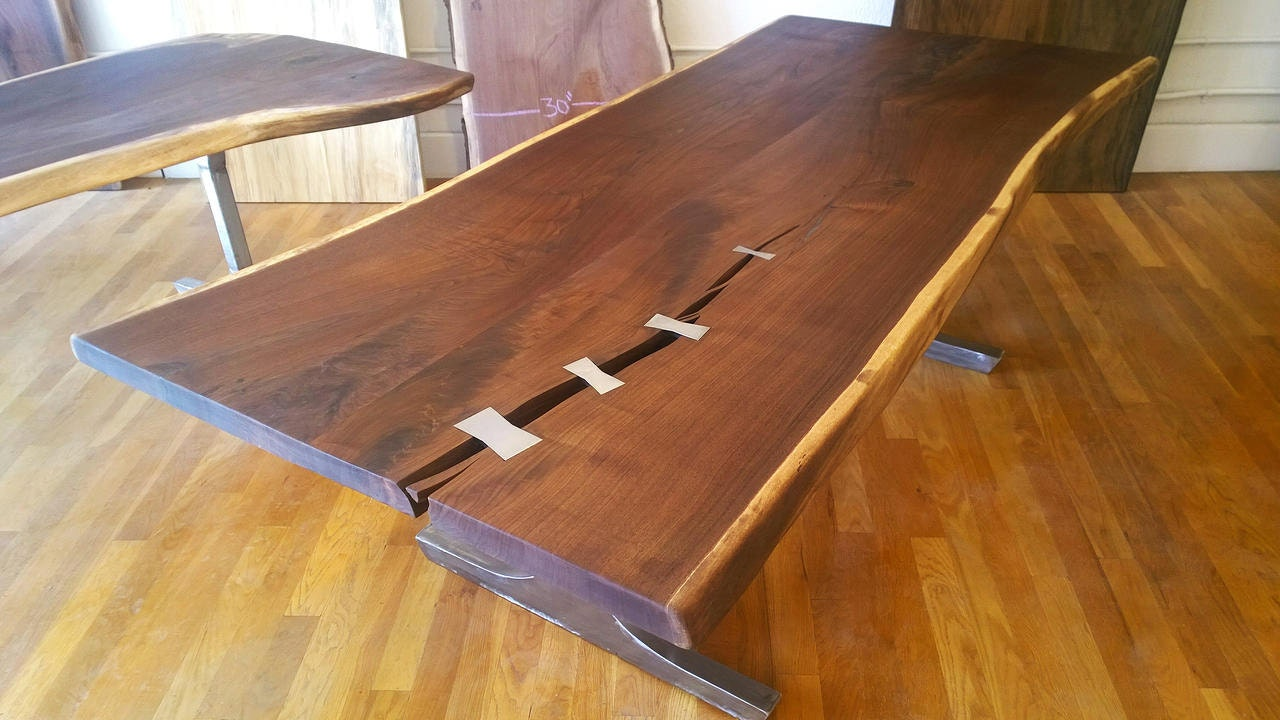custom live edge table top with steel or brass by stumpstandards. Black Bedroom Furniture Sets. Home Design Ideas
