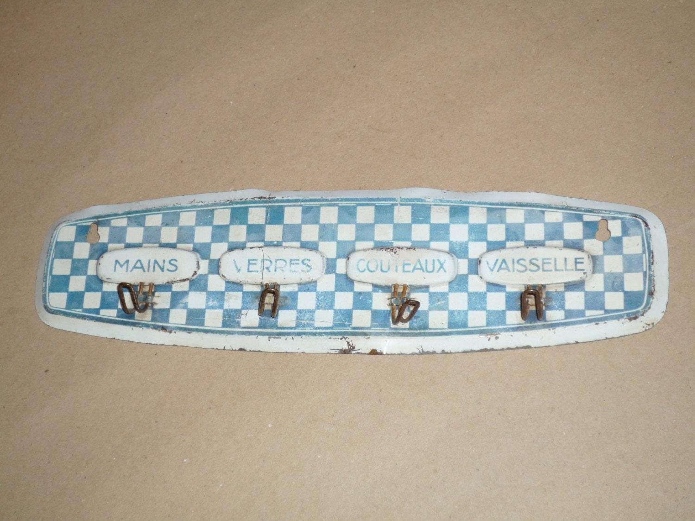 Ancien accroche torchon cuisine lustucru bleu blanc for Accroche torchon cuisine
