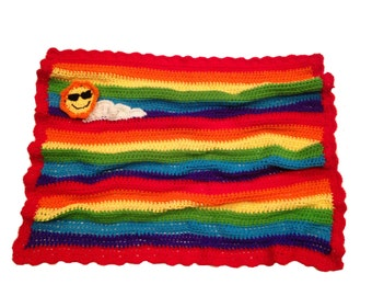 Rainbow Baby Blanket with Smiling Sun