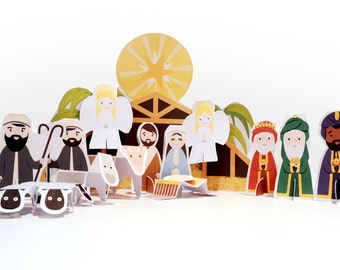 Printable PDF Paper Toy - Nativity - Cut And fold Paper Toy - DIY Craft Kit - Party Favor - Christmas Decoration - Self Assembly Toy