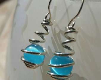 Sterling Silver and Caribbean Blue Cat Eye Wire Spiral Wrapped Caged Dangle Earrings