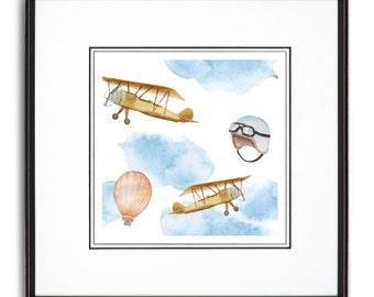Watercolor Airplanes Art Print