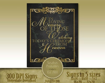 """1920's Printable """"In loving Memory""""  DIY Faux Glitter Gold Wedding Sign - Download and Print"""