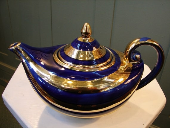 Vintage 1950 39 s arthur wood aladdin teapot cobalt with - Aladdin teapot ...