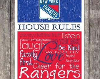 NEW YORK RANGERS House Rules Art Print