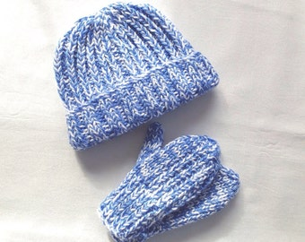 Kids knit beanie and mittens - Knit baby beanie - Boys knit hat - Girls knit hat - Toddler beanie - Childrens hats - Kids accessories