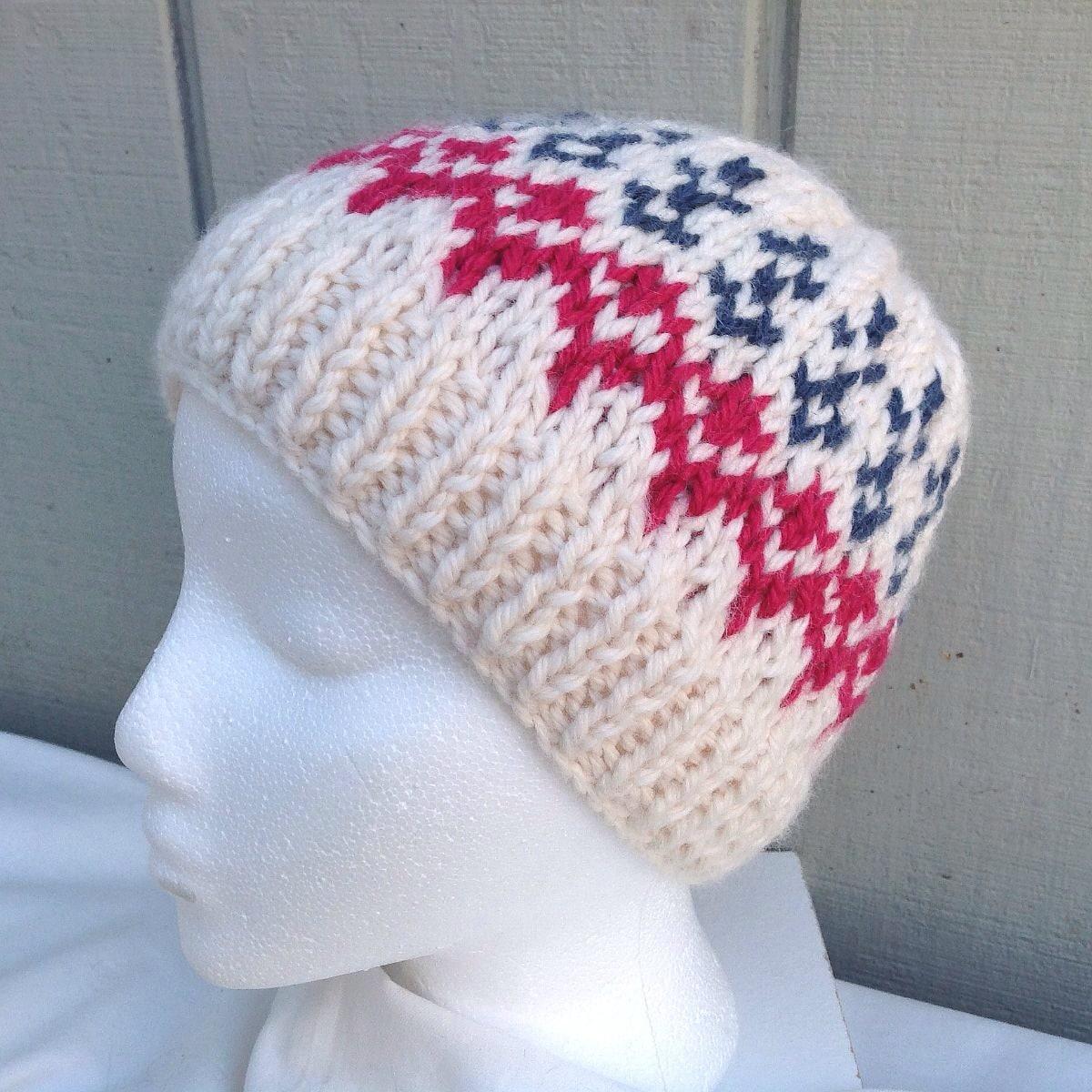 Fair Isle Knitting Hat : Knit fair isle hat wool blend beanie teens