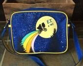 Vintage Retro Estate ET & Me Canvas  Bag E.T. Extra Terrestrial  Lunch Bag Pocket Book Purse Travel
